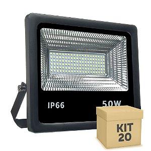 Kit 20 Refletor Holofote MicroLED 50W Branco Frio