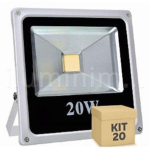 Kit 20 Refletor Holofote LED 20w Branco Quente
