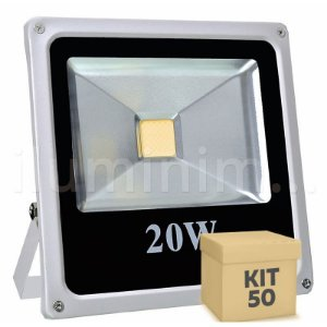 Kit 50 Refletor Holofote LED 20w Branco Quente