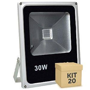 Kit 20 Refletor Holofote LED 30w RGB Colorido c/ Controle