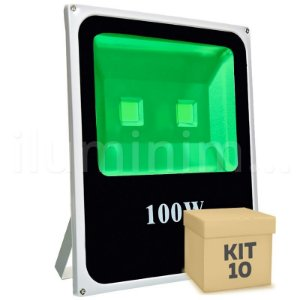 Kit 10 Refletor Holofote LED 100w Verde