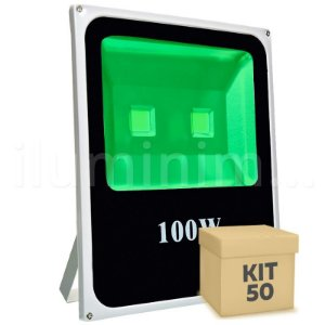 Kit 50 Refletor Holofote LED 100w Verde