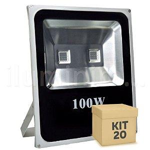 Kit 20 Refletor Holofote LED 100w RGB Colorido c/ Controle