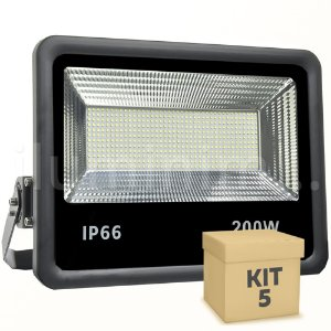 Kit 5 Refletor Holofote MicroLED 200W Branco Frio