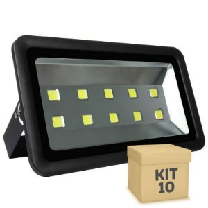 Kit 10 Refletor Holofote LED 500w Branco Frio Preto
