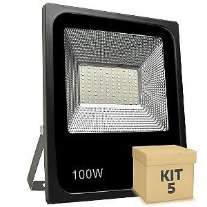 Kit 5 Refletor Holofote MicroLED Slim 100W Branco Frio