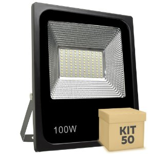 Kit 50 Refletor Holofote MicroLED Slim 100W Branco Frio