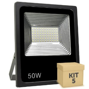 Kit 5 Refletor Holofote MicroLED Slim 50W Branco Frio