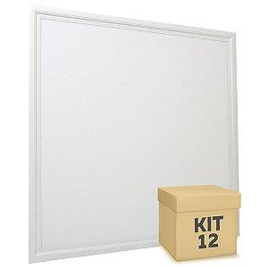 Kit 12 Luminária Plafon 60x60 48W LED Embutir Branco Frio Borda Branca