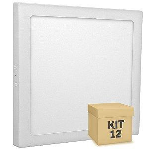 Kit 12 Luminária Plafon 25w LED Sobrepor Branco Quente