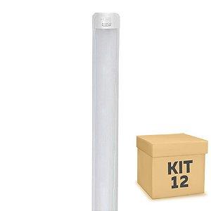 Kit 12 Tubular LED Sobrepor Completa 36W 1,20m Branco Frio | Inmetro