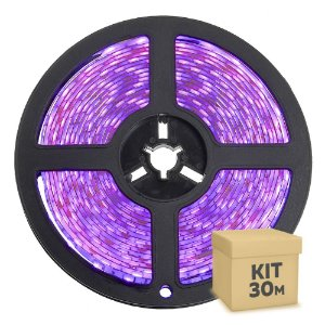 Fita LED Rosa 3528 30 metros com Fonte/Carregador IP65 - À prova d'água