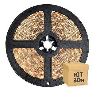 Fita LED Branco Quente 5050 30 metros com Fonte/Carregador IP65 - À prova d'água