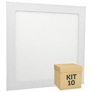 Kit 10 Luminária Plafon 25w LED Embutir Branco Neutro