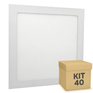 Kit 40 Luminária Plafon 25w LED Embutir Branco Neutro