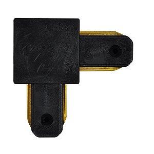 Conector Emenda tipo L para Trilho Eletrificado LED Cor Preta