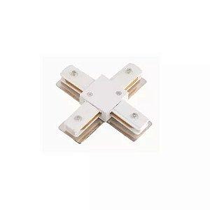 Conector Emenda tipo X para Trilho Eletrificado LED Cor Branca