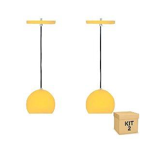 Kit 2 Pendente Alumínio Amarelo Redondo