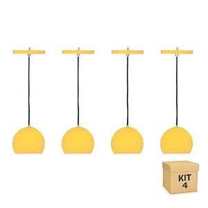 Kit 4 Pendente Alumínio Amarelo Redondo