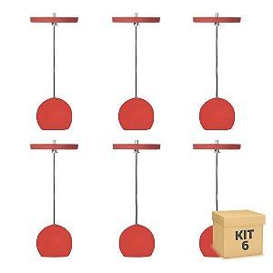 Kit 6 Pendente Alumínio Vermelho Redondo