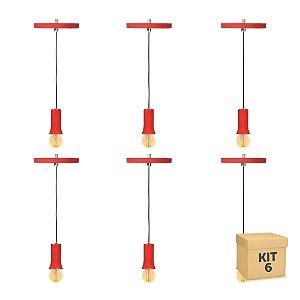 Kit 6  Pendente Alumínio Vermelho Cone