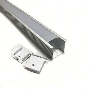 Luminária LED Perfil Linear Retangular de Embutir 120cm