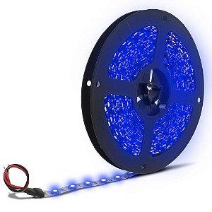 Fita Led Azul 3528 1 metro com Fonte/Carregador - À prova d'água