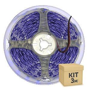 Fita LED Luz Negra Ultravioleta 5050 3 metros com Fonte/Carregador IP30 - 72W