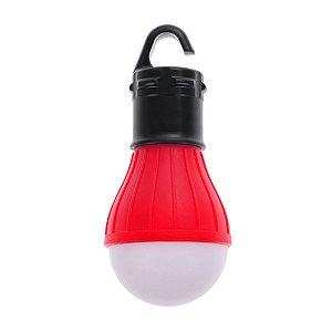 Lampada Led Camping Pesca Lanterna Com Gancho Acampamento Vermelha