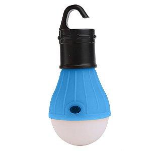 Lampada Led Camping Pesca Lanterna Com Gancho Acampamento Azul