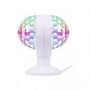 Lampada LED 2 Globo Giratória 3w RGB Bola Maluca Bivolt para Festa | Inmetro