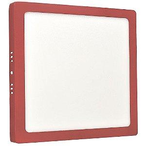 Luminária Plafon 18w LED Sobrepor Branco Frio Vermelho