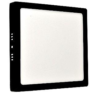Luminária Plafon 18w LED Sobrepor Branco Frio Preto