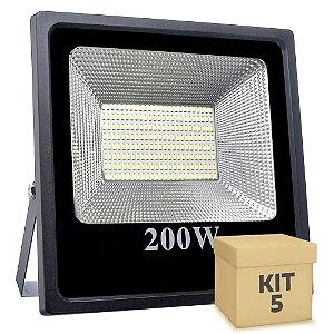 Kit 5 Refletor Holofote MicroLED Slim 200W Branco Frio