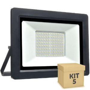 Kit 5 Refletor MicroLED Ultra Thin 200W Branco Frio Black Type