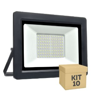 Kit 10 Refletor MicroLED Ultra Thin 200W Branco Frio Black Type