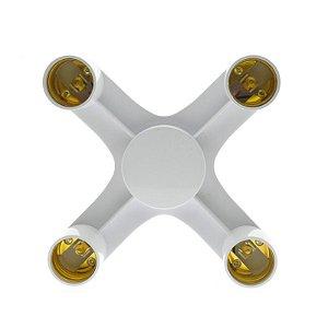 Soquete Para Ligar 4 Lâmpadas - Adaptador Quadruplo - Bocal E27