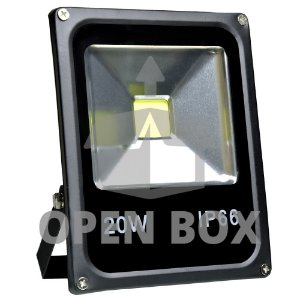 Refletor Holofote LED 20w Branco Frio Preto - Open Box