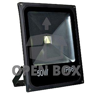 Refletor Holofote LED 50w Branco Frio Preto - Open Box