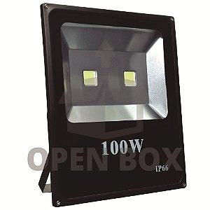 Refletor Holofote LED 100w Branco Frio Preto - Open Box