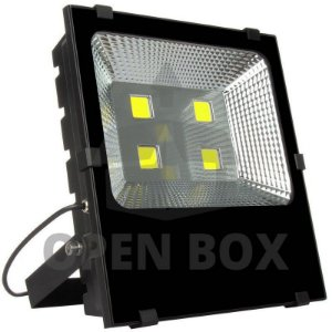 Refletor Holofote LED 200w Branco Frio Preto Slim - Open Box