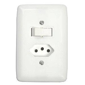 Conjunto Interruptor Simples e Tomada 2P + T de Embutir 20A Branco