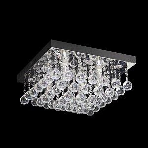 Lustre LED Quadrado Transparente Cristal Diamante 45x45