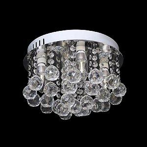 Lustre LED Redondo Transparente Cristal Diamante 45x14