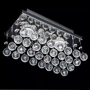 Lustre LED Retangular Transparente Cristal Diamante 30x10