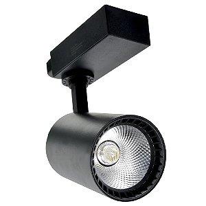 Spot LED 10W Branco Neutro para Trilho Eletrificado Preto