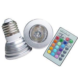 Lâmpada Dicroica LED 3W RGB E27 com Controle