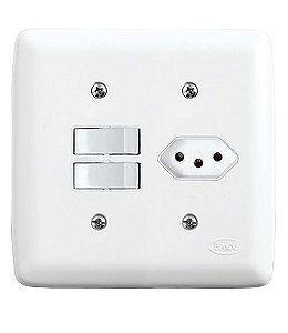Conjunto 2 Interruptores Simples + 1 Tomada 2P+T 10A 250V