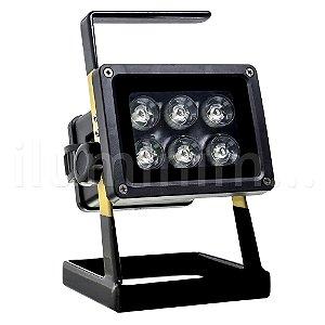 Refletor LED Multifocal Recarregável Portátil 30w Branco Frio