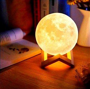 Luminária Lua Abajur LED 2 Cores Touch com Entrada USB